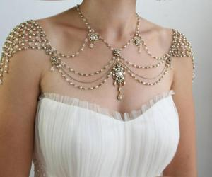 dress, jewelry, and white image