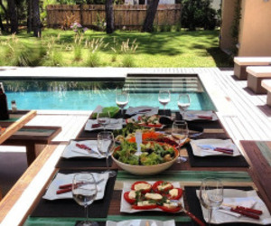 food, pool, and lunch image