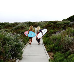 blond, surfing, and girls image