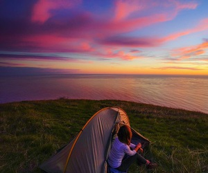 camping, sky, and sunset image