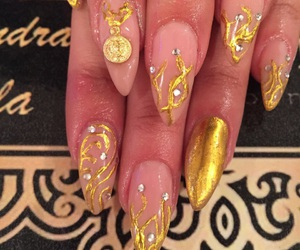 art, golden, and stiletto nails image