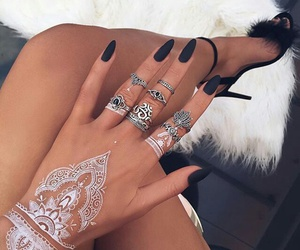 art, henna, and rings image