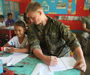 soldier, kids, and school image