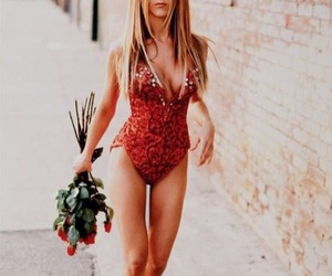 Jennifer Aniston, rose, and red image