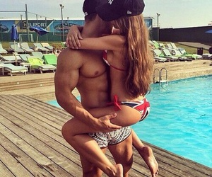 couple, Relationship, and swimming pool image