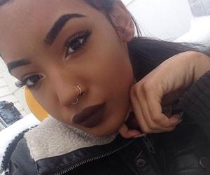 black girl, dark lips, and eyebrows image