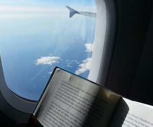 airplane, book, and sea image