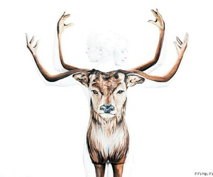 body painting, elk, and optical illusion image