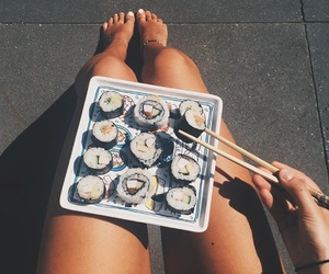 food, goals, and sushi image