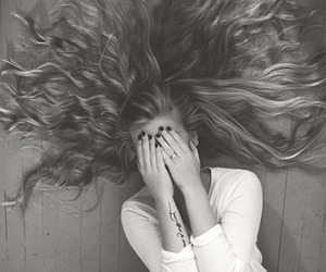hair, black and white, and girl image