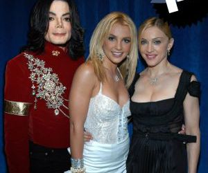 michael jackson, madonna, and britney spears image