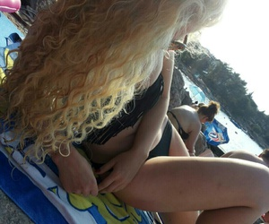 blond hair, curls, and curly image