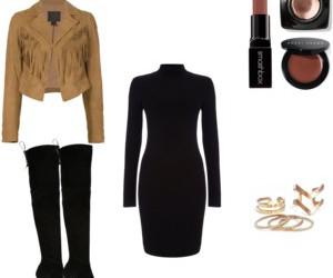 fashion, fringes, and little black dress image