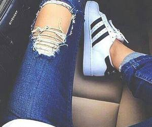 adidas, jeans, and shoes image