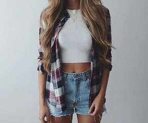 authentic, denim shorts, and hairstyle image
