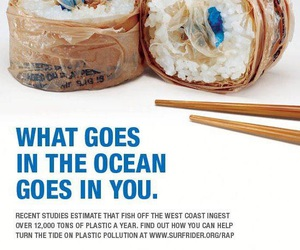 sushi, ocean, and plastic image