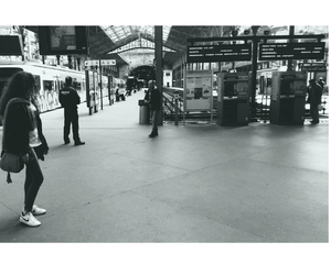 black and white, girl, and train station image