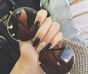 nails, fashion, and sunglasses image
