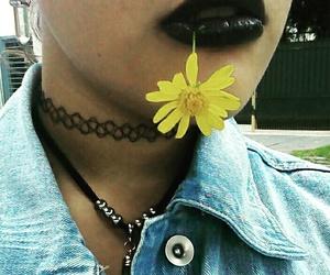 goth punk black flower image