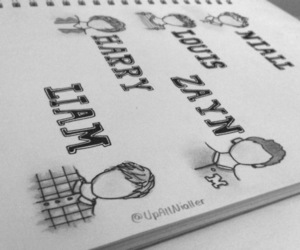 black and white, draw, and niall horan image
