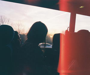 bus, girl, and dark image