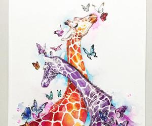 art, drawing, and giraffe image