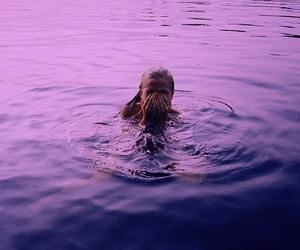 girl, purple, and water image