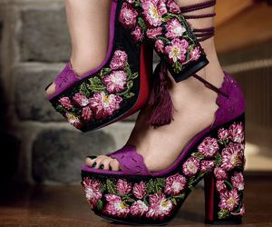 embroidered, flowers, and fashion image