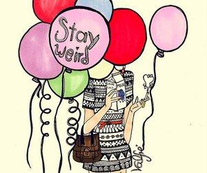 balloons, weird, and girl image