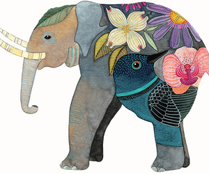 elephant, art, and flowers image