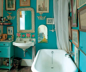 bathroom, blue, and vintage image