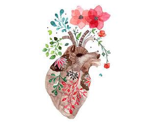 art, girl, and heart image