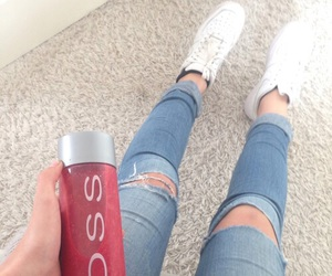 jeans, nike, and ripped image