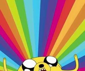 JAKe, adventure time, and rainbow image