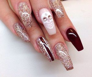 nails, skull, and glitter image