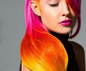 hairstyle, colors, and colores cálidos image