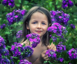 baby, flowers, and girl image