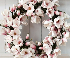 flowers, pink, and wreath image