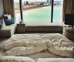 bed, beach, and room image