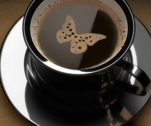 butterfly, coffee, and cup image