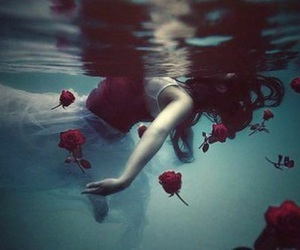 girl, rose, and water image