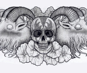 black white, chest, and tattoo image