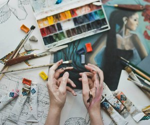 art, hands, and paint image