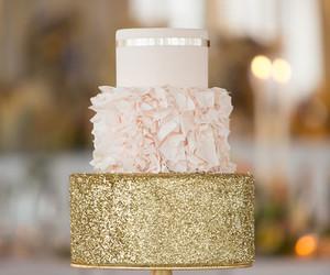 cake, gold, and wedding image