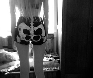 girl, shorts, and black and white image