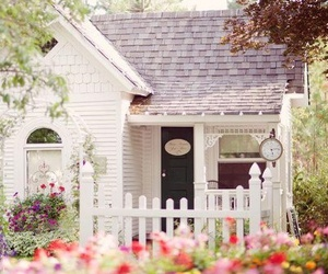 white cottage and romantic house image