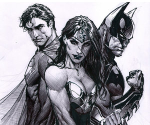 batman, wonder woman, and superman image