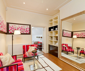 interior design, pink, and room image