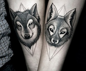 tattoo, wolf, and couple image