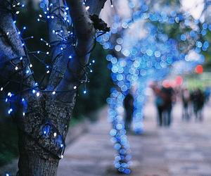 light, blue, and tree image
